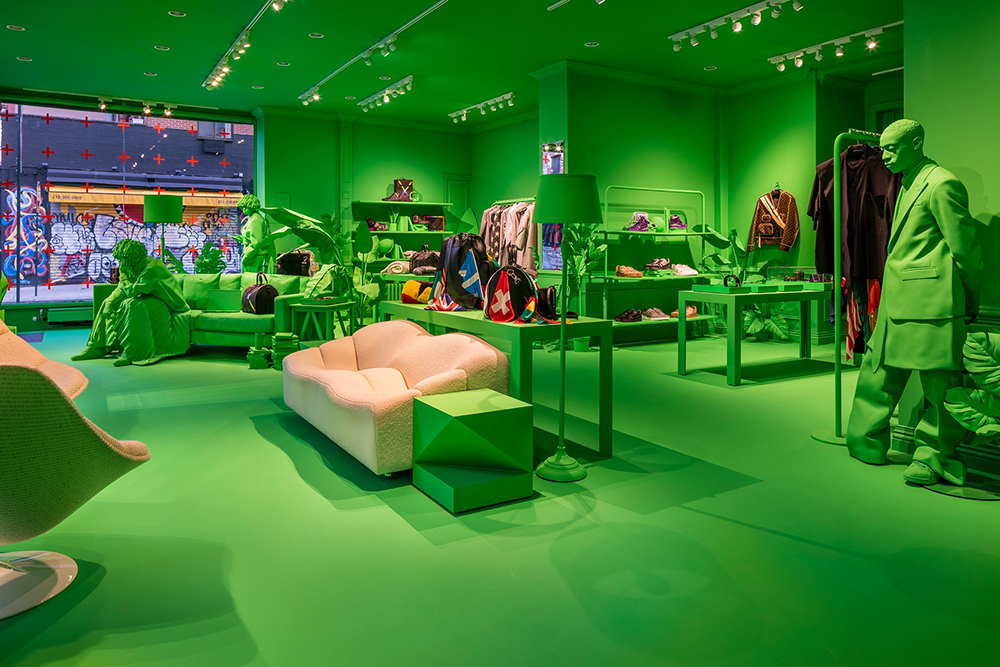 Louis Vuitton's neon green New York City pop up shop celebrates the brand's fall 2019 menswear collection.