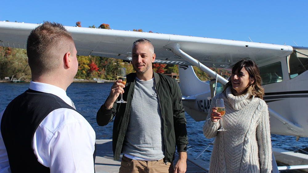 Arrival by sea plane at the Manoir Hovey