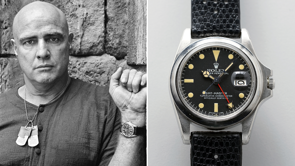 Marlon Brandon on the set of Apocalypse Now wearing his Rolex GMT-Master, ref. 1675