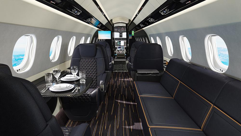The Praetor 600's jazzy Bossa Nova interior features ergonomically designed reclining seats