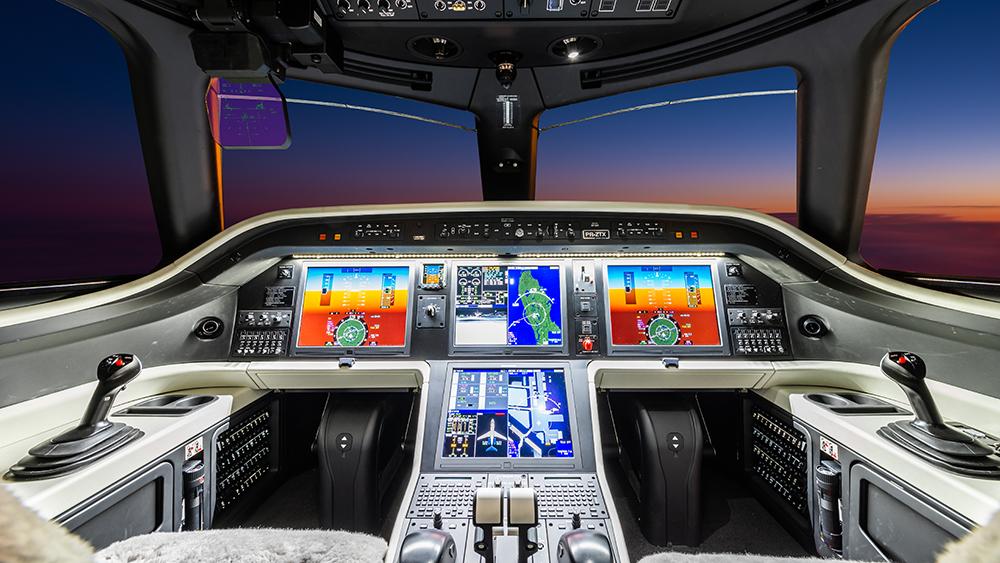 The cockpit of Embraer's new Praetor 600