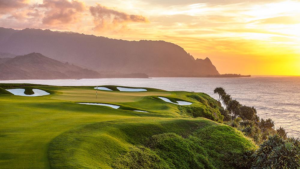 Princeville Makai Golf Club 7th hole at sunset