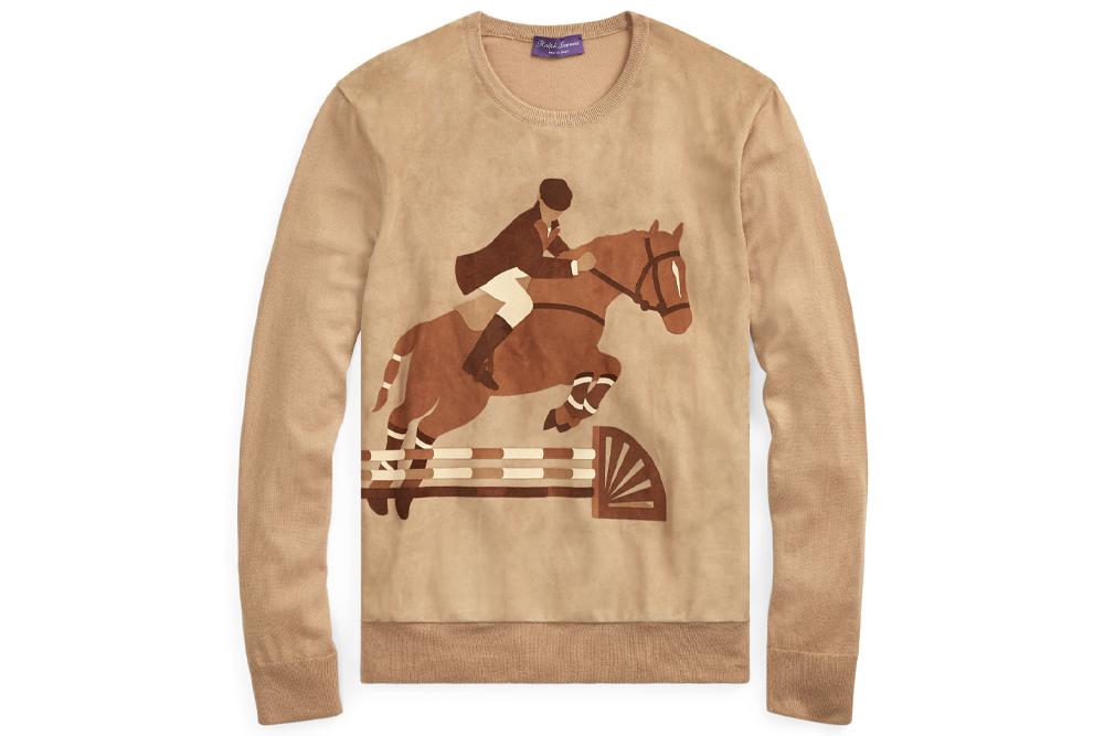 Ralph Lauren PURPLE LABEL Suede-Cashmere Graphic Sweater