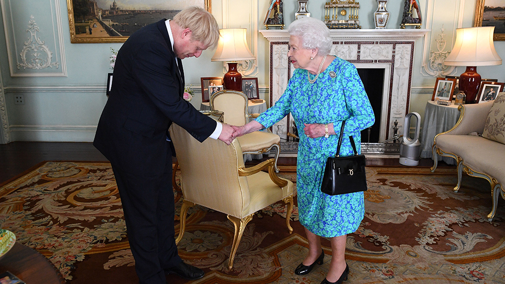 Britain's Queen Elizabeth II welcomes newly elected leader of the Conservative party Boris Johnson during an audience in Buckingham Palace, London, Britain, 24 July 2019 where she invited him to become Prime Minister and form a new government. Former London mayor and foreign secretary Boris Johnson is taking over the post after his election as party leader was announced the previous day. Theresa May stepped down as British Prime Minister following her resignation as Conservative Party leader on 07 June.Boris Johnson appointed British Prime Minister, London, United Kingdom - 24 Jul 2019