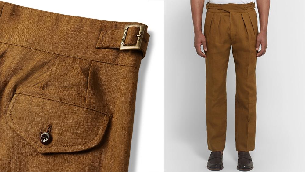 Rubinacci brown linen trousers
