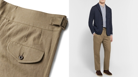 Rubinacci light brown linen trousers