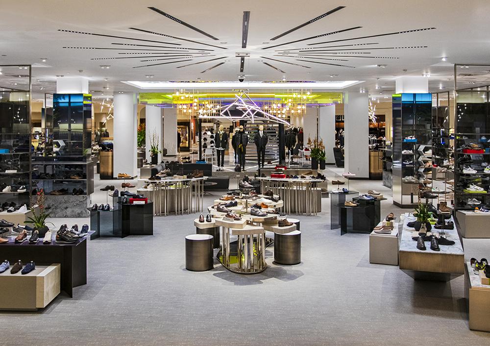 Inside Saks Fifth Avenue's men's shoe floor.