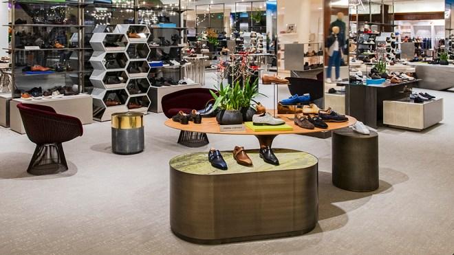 Inside Saks Fifth Avenue's 8,000 square foot shoe floor for men.
