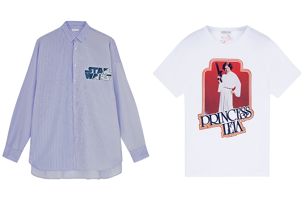 An oxford shirt and a Princess Leia t-shirt from the Star Wars x Etro collaboration.