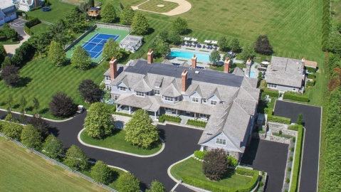 Aerial shot of The Sandcastle in Bridgehampton