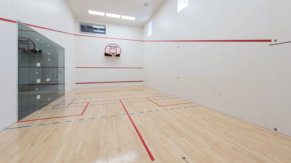 The squash and basketball court at The Sandcastle in Bridgehampton