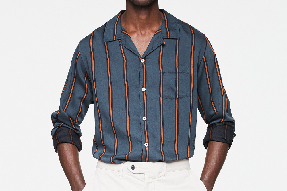 Todd Snyder LONG SLEEVE CAMP COLLAR SHIRT IN ORANGE/GREEN STRIPE
