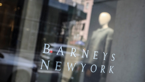 Signage for Barneys New York department store is displayed on the store's window, in New York. The luxury retailer could be joining a growing list of retailers that have filed for bankruptcyBarneys -Options, New York, USA - 16 Jul 2019