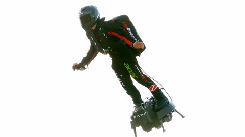 Frenchman 'Flyman' Franky Zapata starts to cross the English Channel on a jet-powered flyboard he designed from Sangatte, France, to Saint Margaret's Bay, near Dover, Britain, 04 August 2019. French former jet-ski champion and inventor Franky Zapata has failed in his first attempt to cross the English Channel on his jet-powered flyboard, from northern France to southern England in just 20 minutes, on 25 July 2019.French inventor Franky Zapata crossing English Channel by flyboard, Sangatte, France - 04 Aug 2019