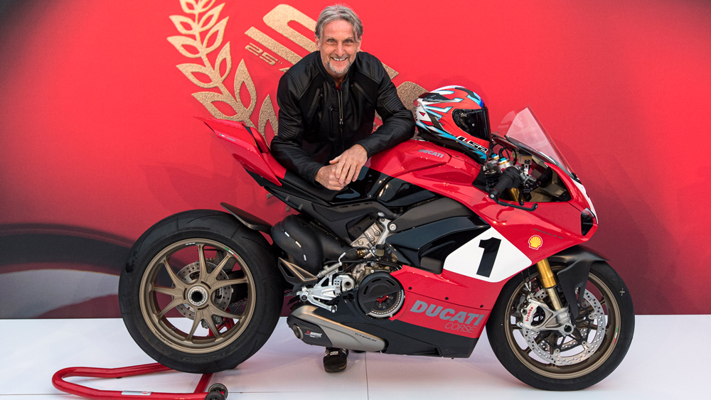 Carl Fogarty, four-time World Superbike Champion, at a Ducati unveiling.