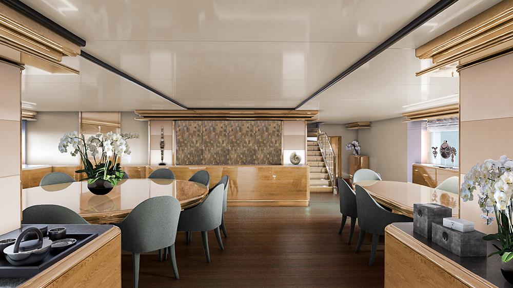 The dining room on Aqua Expeditions long-range luxury yacht Aqua Blu