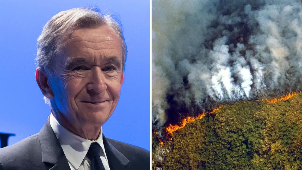 LVMH CEO Bernard Arnault and Amazon Fires