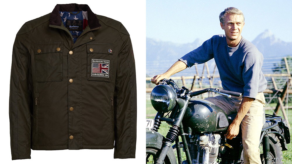 A jacket from Barbour's collection honoring Steve McQueen; the actor in a still from the 1963 movie 'The Great Escape.'