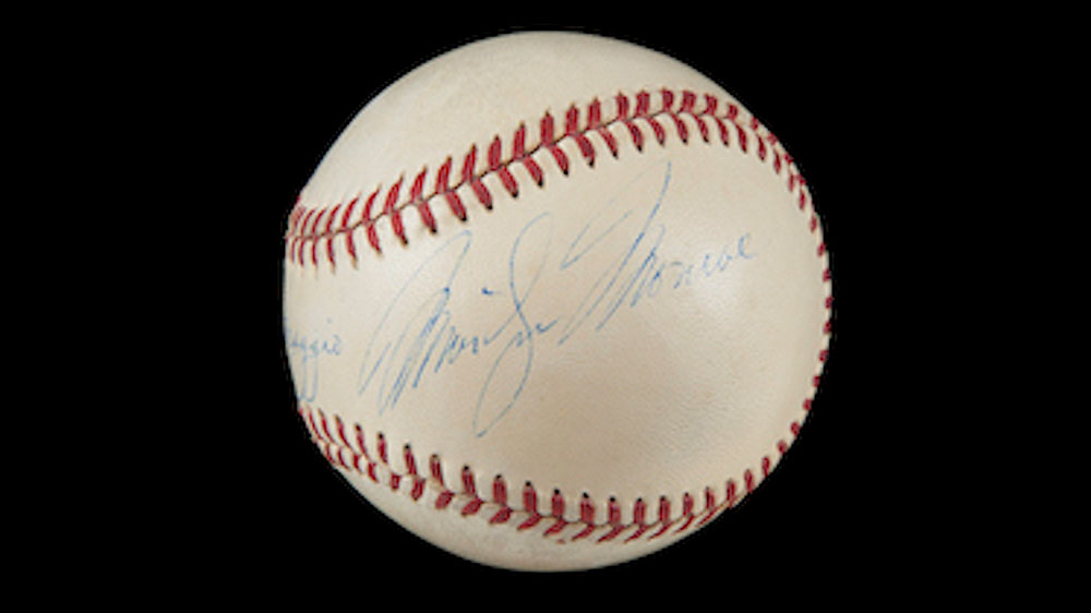 Baseball signed by DiMaggio and Monroe