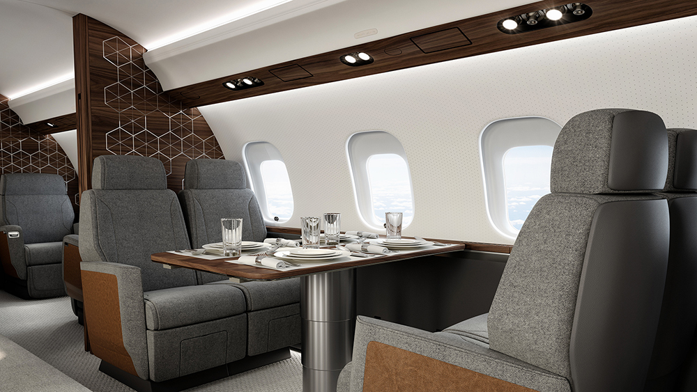 The cabin of Bombardier's new Global 6500 Business Jet