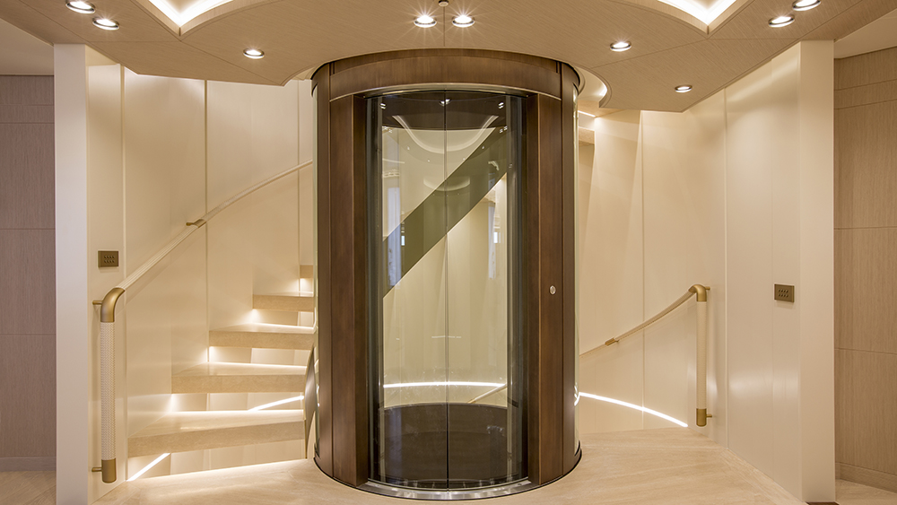 The elevator on Columbus Yachts' new six-deck megayacht Dragon