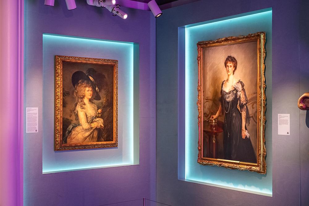 At left, Thomas Gainsborough's portrait of Duchess Georgiana; John Singer Sargent's portrait of Duchess Evelyn.