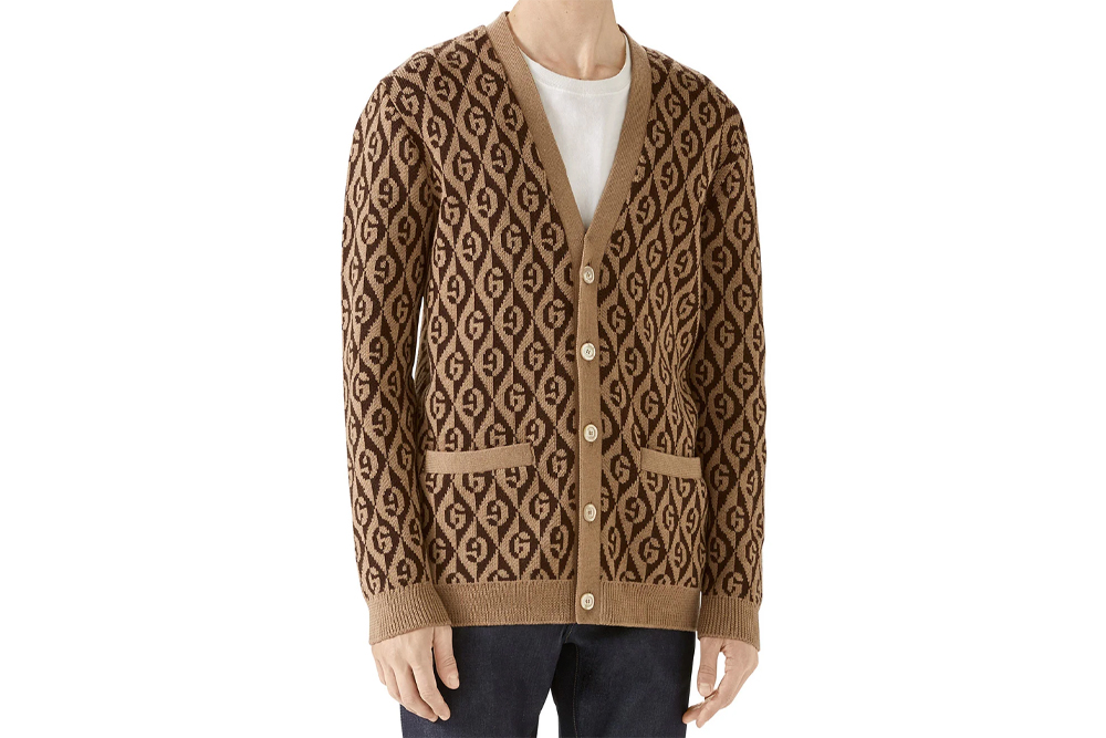 Gucci Men's Rhombus Intarsia-Knit Cardigan Sweater