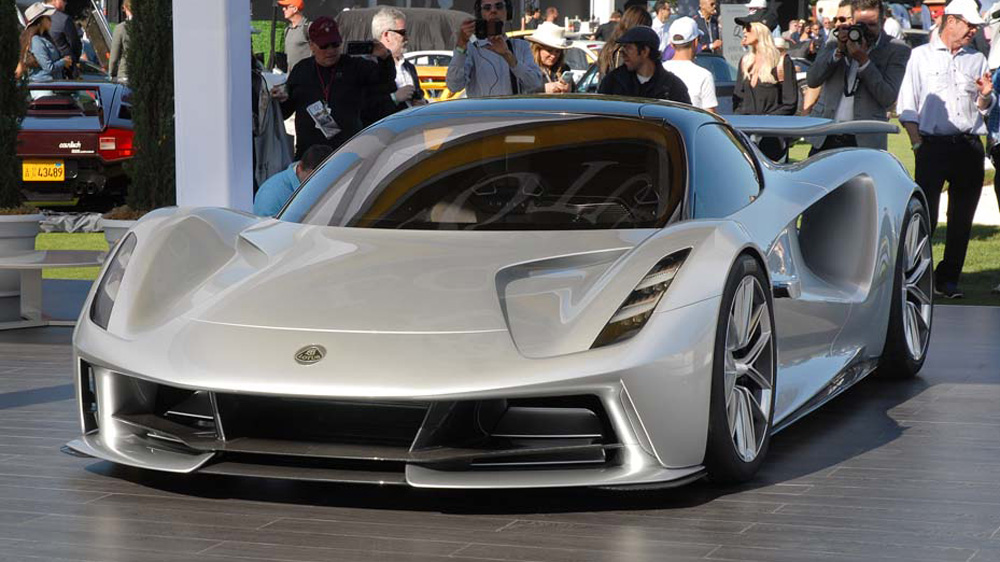 The 2,000 hp Lotus Evija, an all-electric hypercar.
