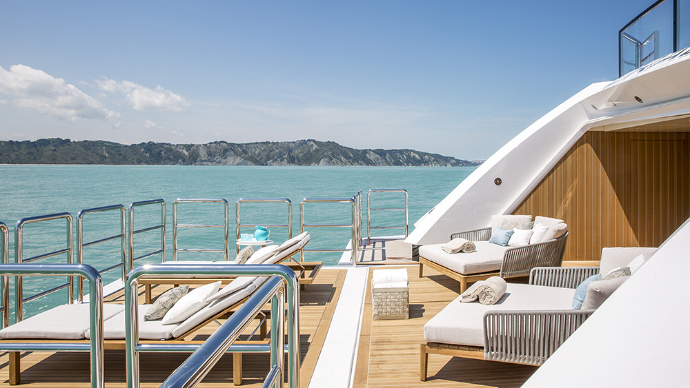 The lower deck on Columbus Yachts' new six-deck megayacht Dragon