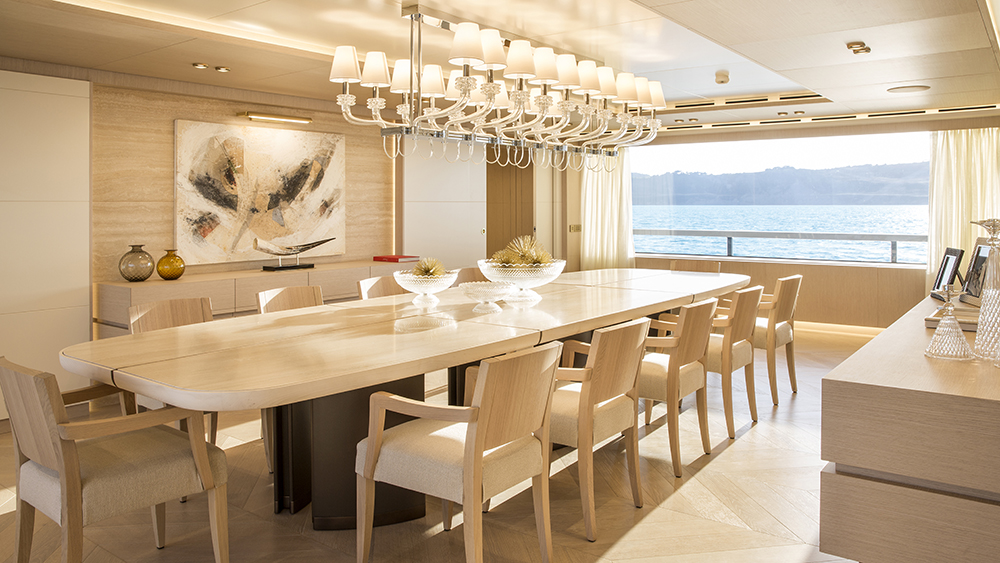 The main deck on Columbus Yachts' new six-deck megayacht Dragon