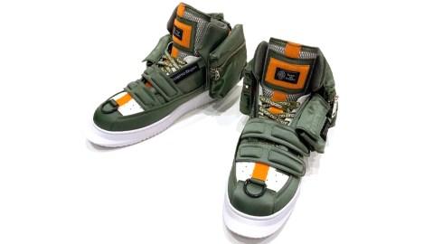 Takashi Murakami designed this pair of sneakers in honor of the Zaku from Mobile Suit Gundam