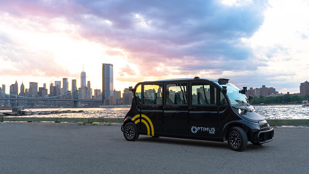 Optimus Ride's driverless shuttle at Brooklyn Navy Yard