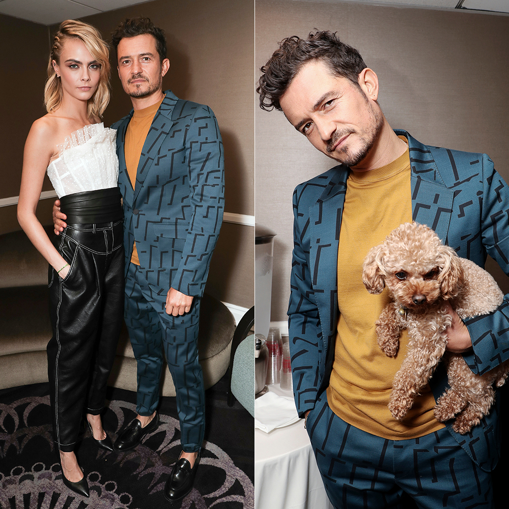 Cara Delevigne, Orlando Bloom, and Bloom's dog Mighty at an event promoting the new show 'Carnival Row.'