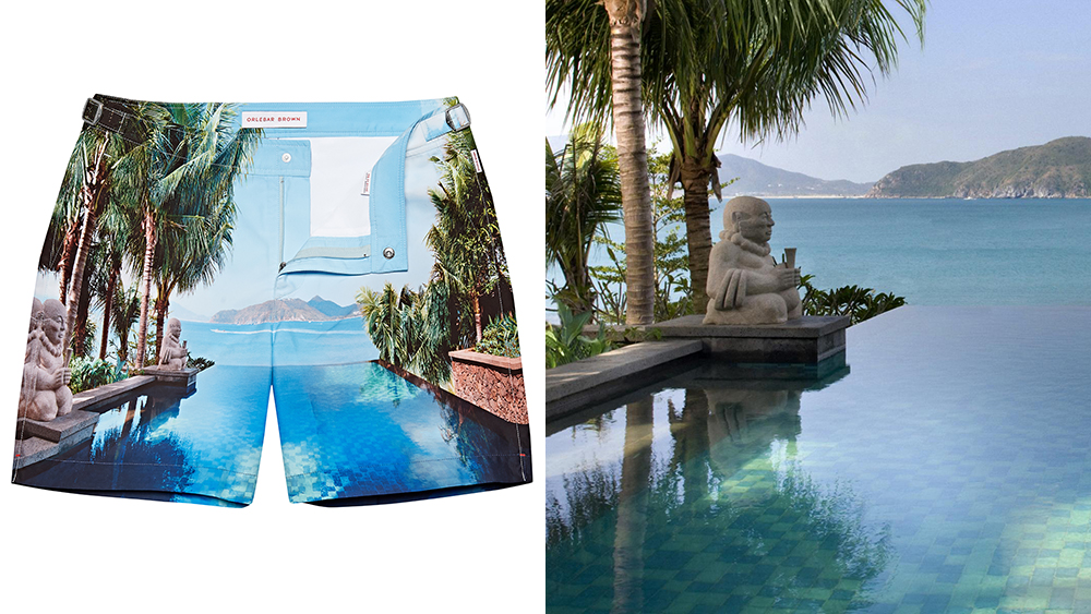 New swimming trunks from Orlebar Brown depict scenery from global outposts of the Mandarin Oriental hotels.