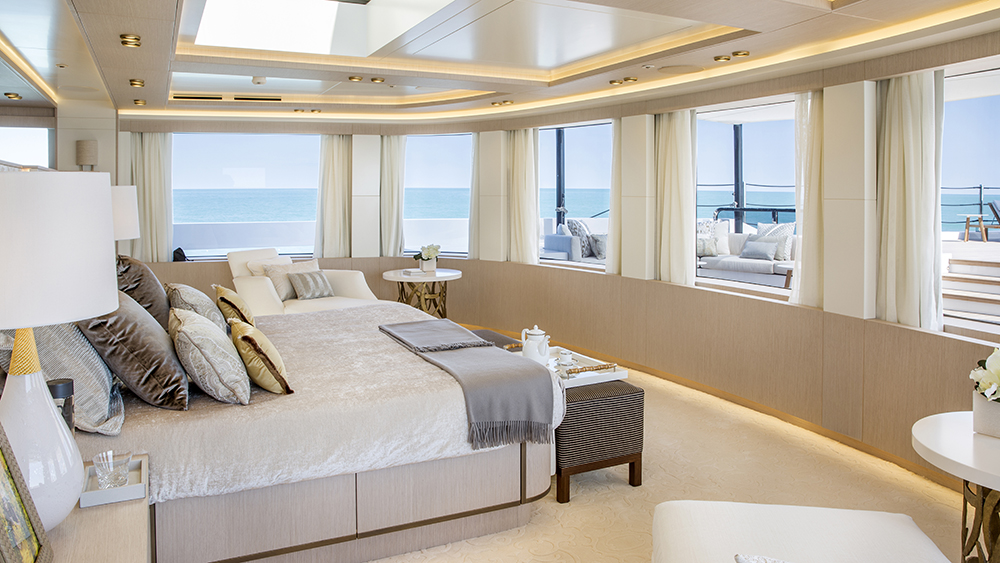The owner deck on Columbus Yachts' new six-deck megayacht Dragon