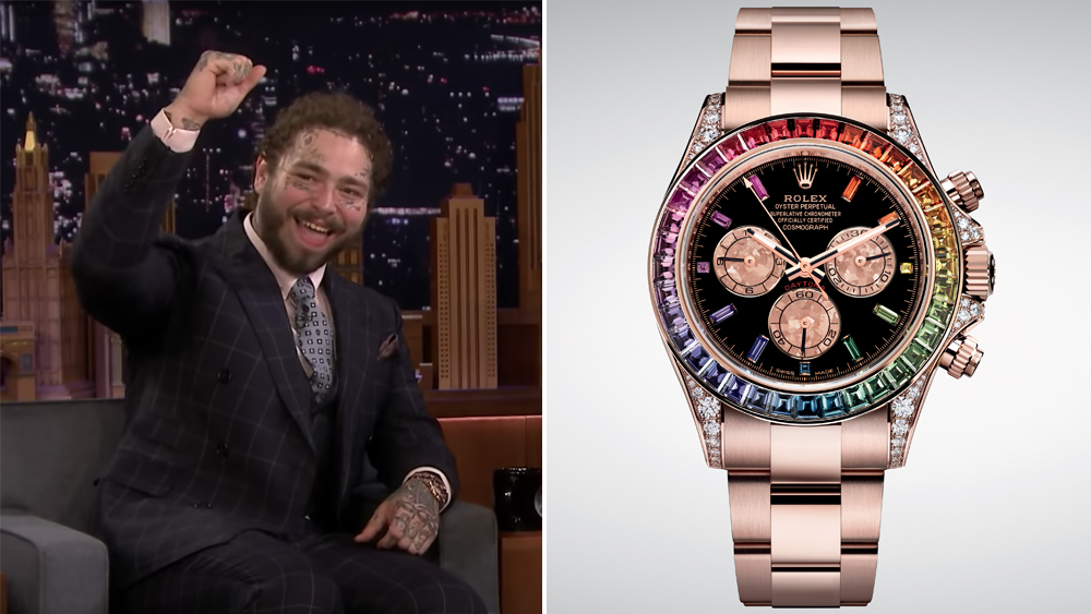 Post Malone wears a Rolex Rainbow Cosmograph Daytona in Everose