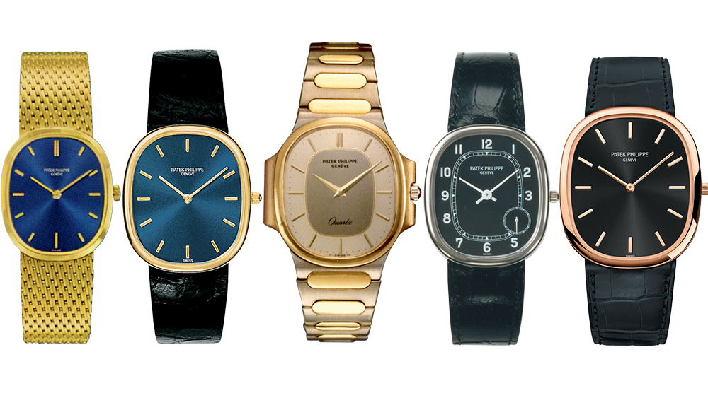 A few of the Golden Ellipses from Patek Philippe, including a modern larger model at the far right.