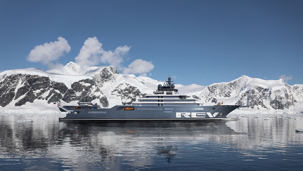 A render of the completed 'Rev Ocean' superyacht
