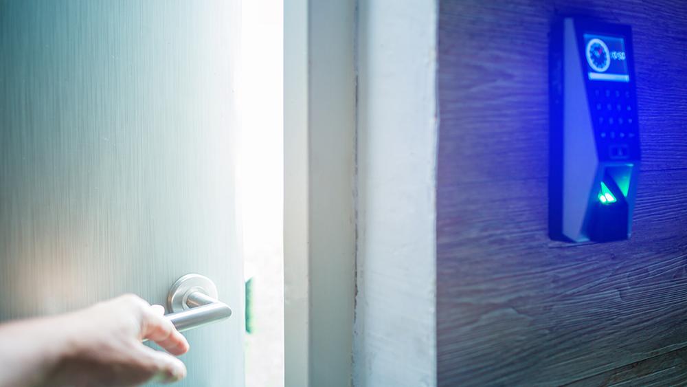 Biometric security lock on door