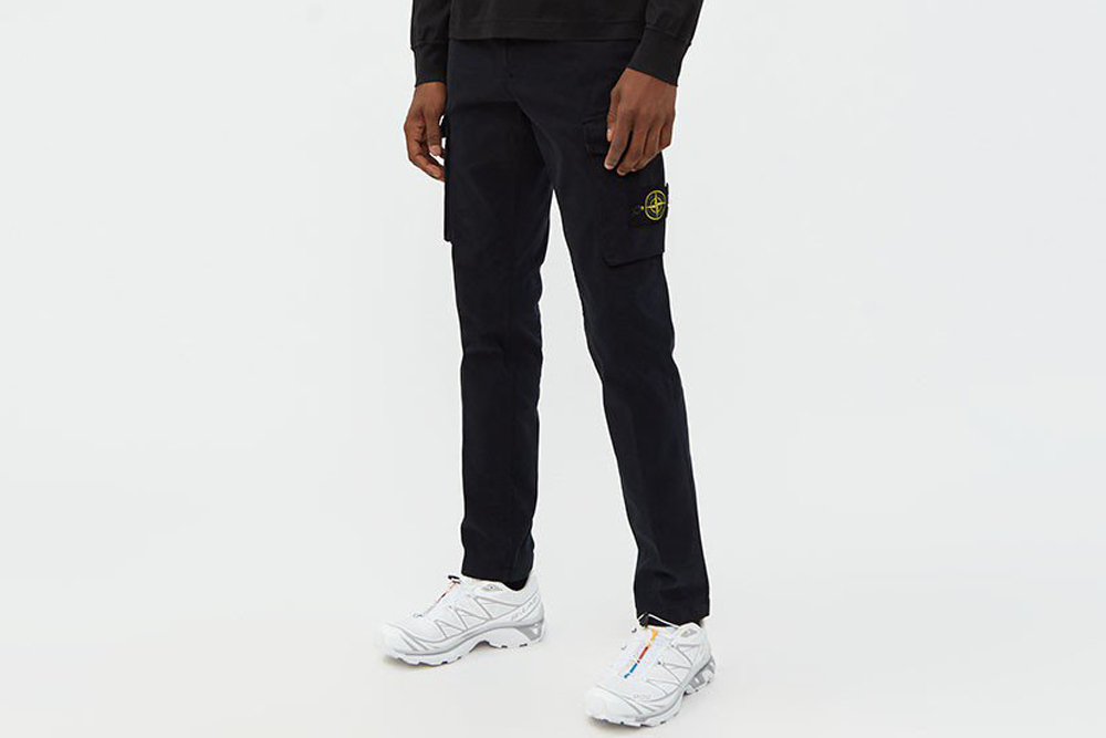 Stone Island Stretch Gabardine Cargo Pant in Navy Blue