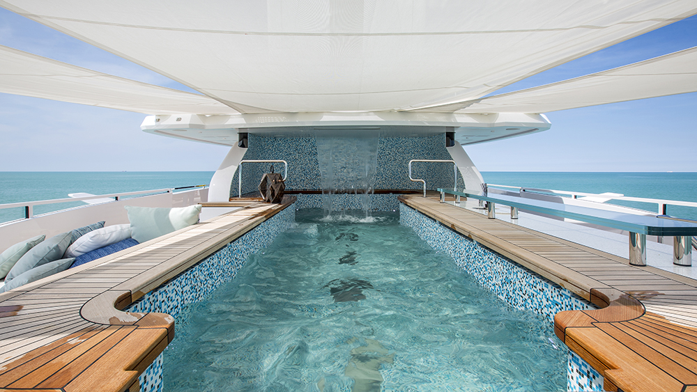 The sundeck on Columbus Yachts' new six-deck megayacht Dragon