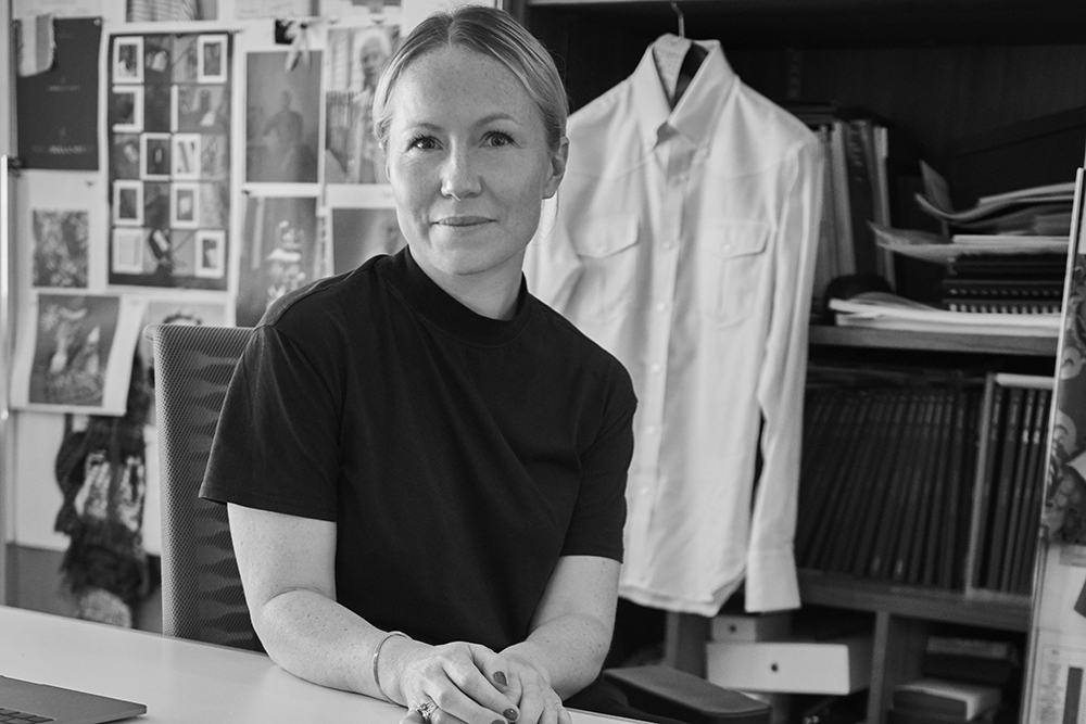 A portrait of Becky French, creative director of Turnbull & Asser.