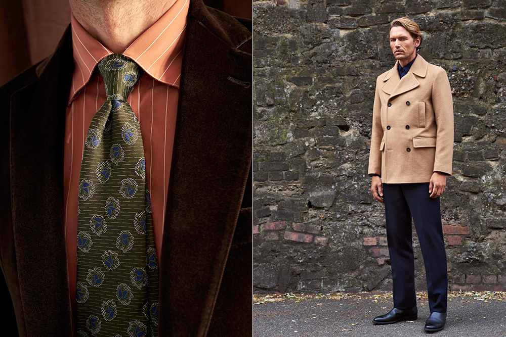Pieces from Turnbull & Asser's fall 2019 collection, the first from new creative director Becky French.