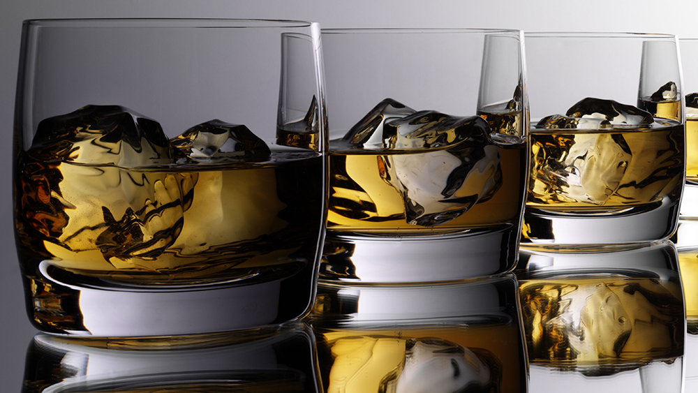 Tumblers filled with Scotch whisky