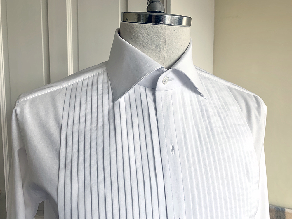 A tuxedo shirt from Wil Whiting displays the crisp quality his collar-making method cann achieve.
