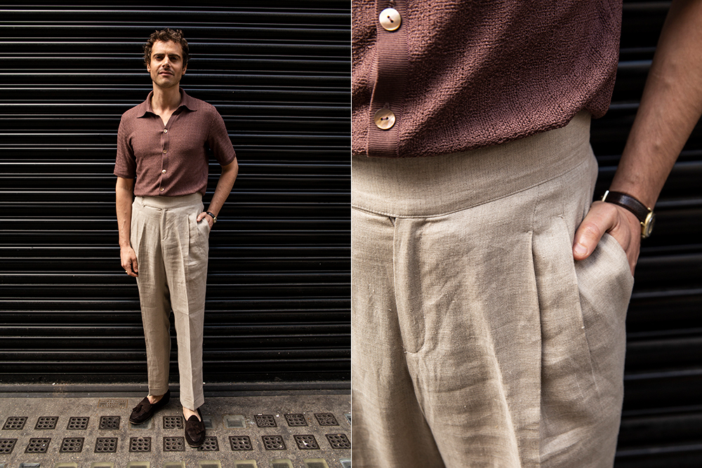 One of Yuri & Yuri's unique selling points is the serie fabric it uses for polo shirts. They pair well with pleated linen trousers.