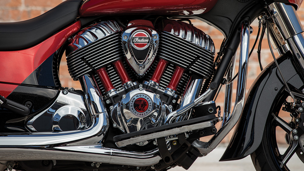 Indian's new Thunder Stroke V-twin engine in the 2020 Chieftain Elite.