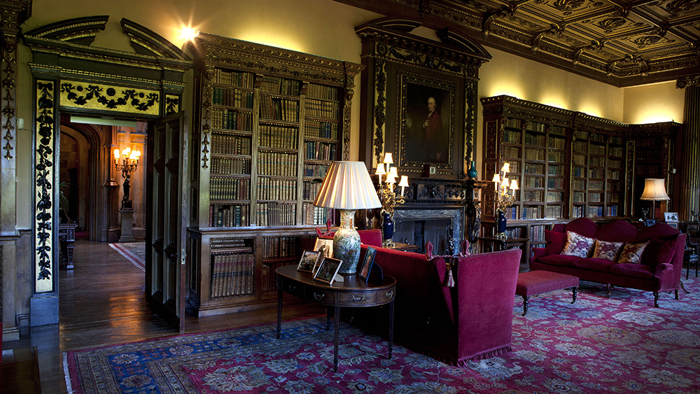The library in Highclere Castle from Downton Abbey