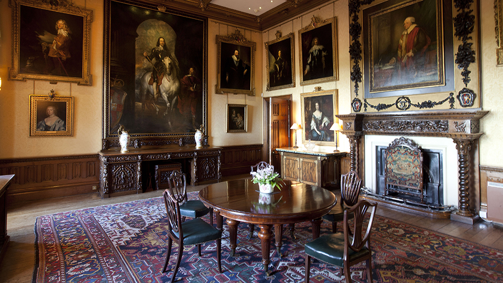 The dining room in Highclere Castle from Downton Abbey