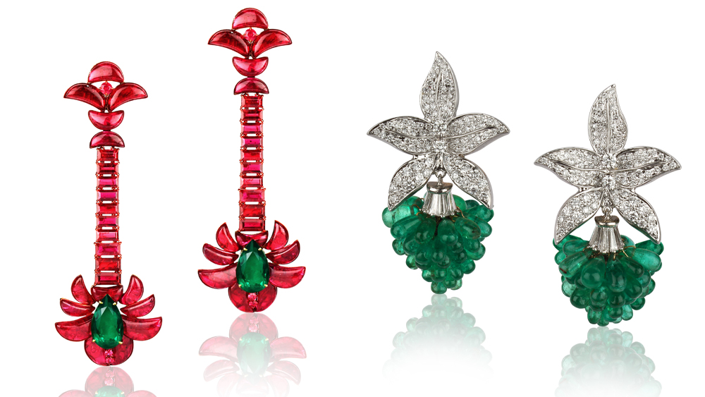 Goenka's ruby earrings and diamond-and-emerald earrings